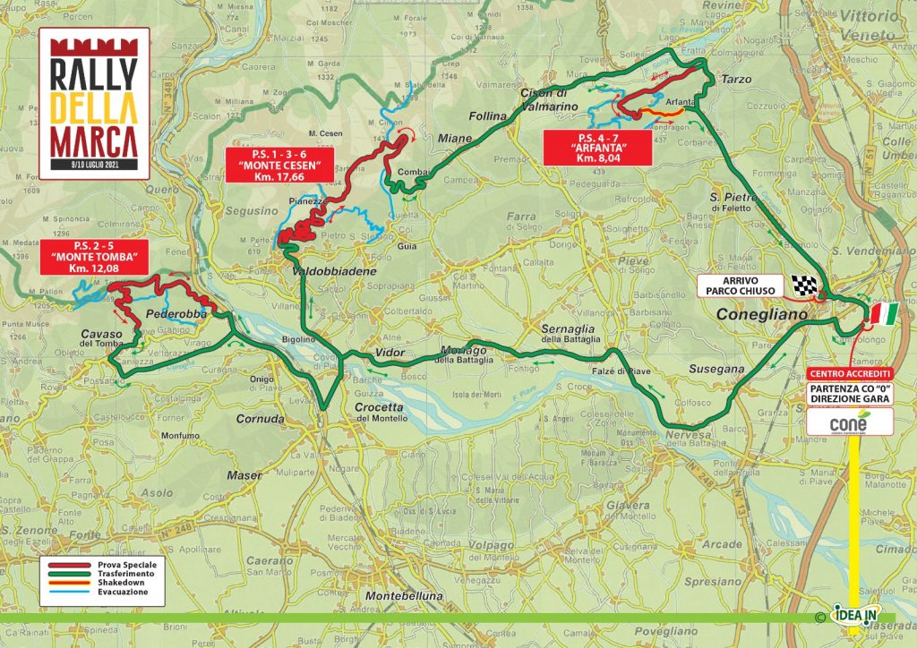 Rally della Marca 2021 - Prove speciali e trasferimenti Mappa